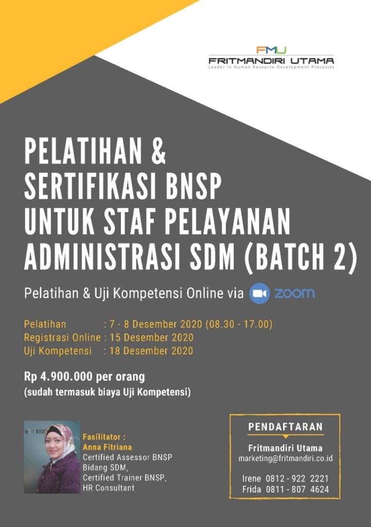Pelatihan dan Sertifikasi BNSP untuk ADM SDM Batch 2
