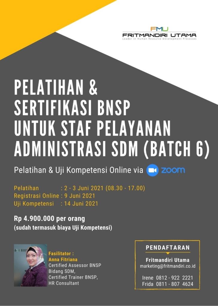 Pelatihan dan Sertifikasi BNSP utk staff pelayanan Adm SDM Batch 6