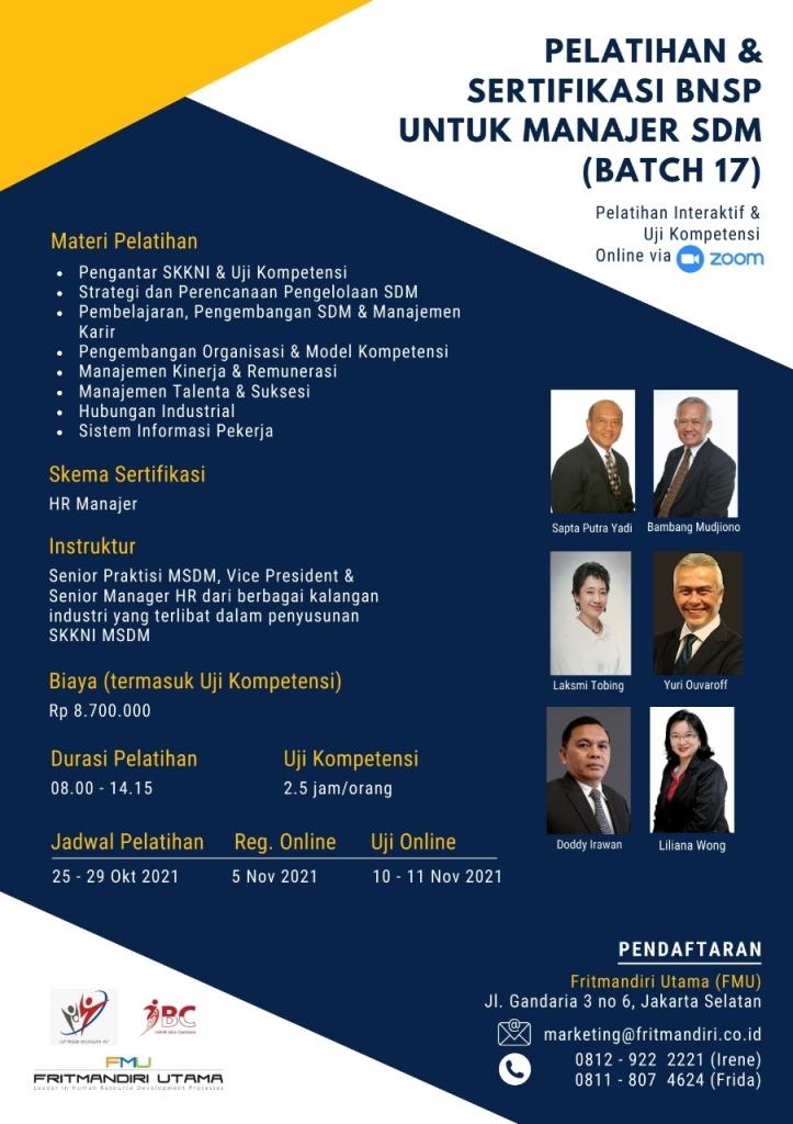Pelatihan dan Sertifikasi BNSP utk Mgr SDM - Batch 17